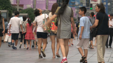 Mother and daughter at Nanjing Road Stock Video Footage