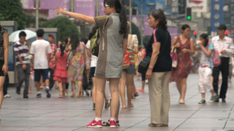 Mother and daughter at Nanjing Road Footage