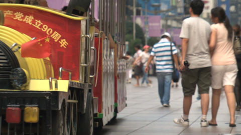 Train at Nanjing Road Stock Video Footage