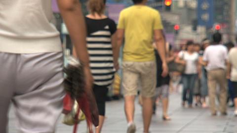 People walking at Nanjing Road Stock Video Footage