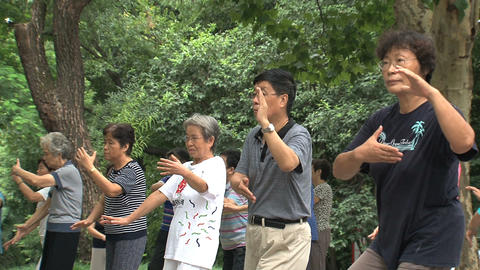 Group people doing Tai Chi close up Stock Video Footage
