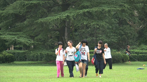 Group children walking towards camera Footage