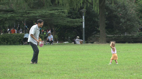 Father and child playing in the park Stock Video Footage