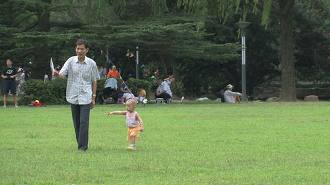 Father and child playing in the park Footage