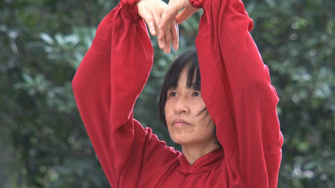 Tai Chi in zhongshan park,shanghai Stock Video Footage