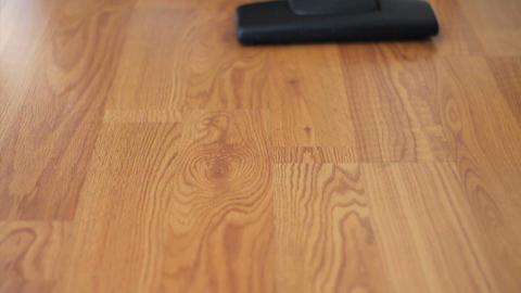 Vacuuming Laminate Flooring Close Up Stock Video Footage