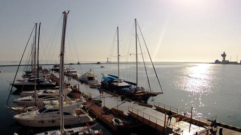Life of the marina. Timelapse Stock Video Footage
