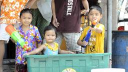 Kids Shooting Water Pistols During Songkran Festivities Stock Video Footage