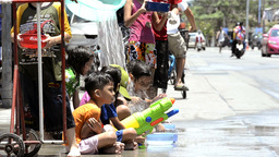 Children Getting Water Poured Over Them During Songkran Festivities Footage