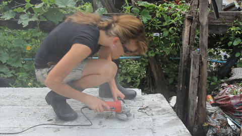 Woman Using Hand Grinder Stock Video Footage