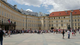 People at the courtyard of Prague Castle Footage
