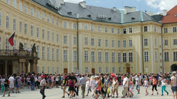 Tourists at the courtyard of Prague Castle Footage