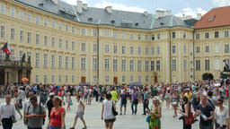 People at the courtyard of Prague Castle. Prague, Czech Republic Footage