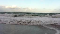 Beach waves at dusk Footage