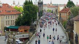 Prague, Czech Republic. Charles bridge. View from above Live Action