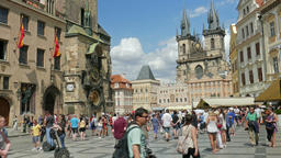 People watching old astronomical clock at the town hall in Prague Footage
