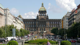 Prague. Wenceslas Square. Saint Wenceslas monument and National Museum building Footage