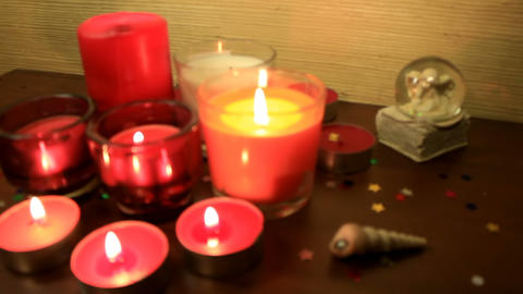 Burning candles. Focus out Footage