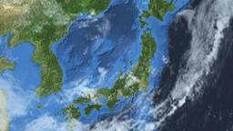 Rotating Earth - Slow passage through Japan Animation