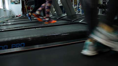 Nice women are run on the treadmill Footage