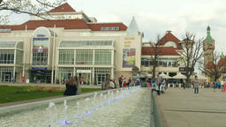 Sopot, Poland. Fountain in the city center and building of national art galery Footage