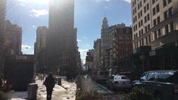 Sunshine on a Flatiron street in Manhattan Footage