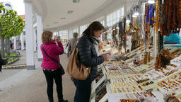 Shops with amber and souvenirs in Sopot, Poland Footage