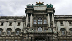 Closeup at Hofburg Imperial Palace (Neue Burg Wing) in Vienna Footage