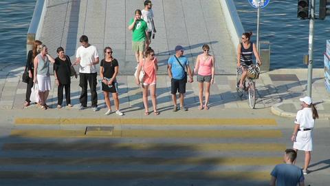 The foot bridge in Zadar, Croatia Filmmaterial