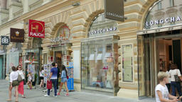 Shops at Graben. The most famous promenade and shopping street in Vienna Footage