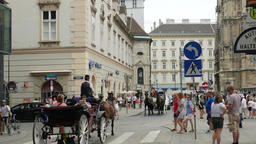Horse carriages on the street of Vienna, Stephansplatz Footage