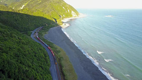 Aerial View: Kaikoura Train Stopped Beach New Zealand Footage