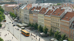 Warsaw, Poland. Tilt down from the roofs to the street in the old town Footage