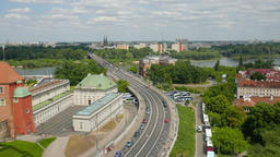 Warsaw, Poland. View of Warsaw and Vistula river from above Footage