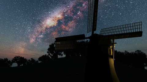 old windmill and Milky Way stars at night Footage