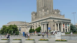 Warsaw, Poland. Palace of Culture and Science. Tilt up Footage