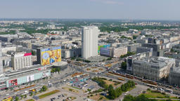 Warsaw, Poland. Aerial view. Real time Footage