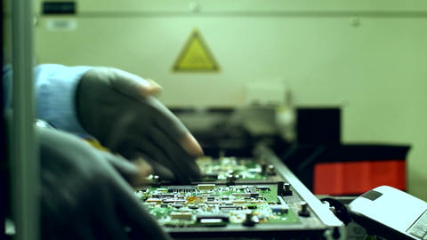 Production Line of Microchip Computers Footage