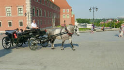 Warsaw, Poland. Horse cab in the old town Footage