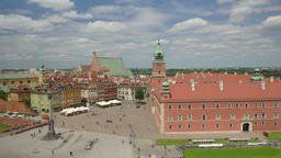 Warsaw, Poland. Royal Castle and the market square. Timelapse Footage