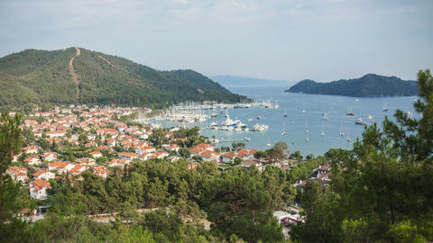 4k Gocek Harbor Time Lapse Animation