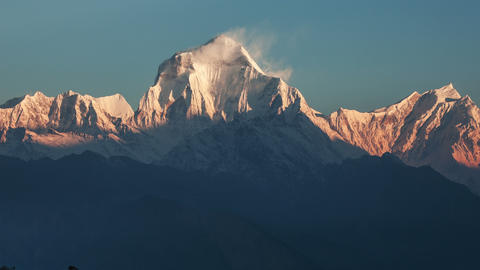 Avalanche Dhaulagiri Peak Sunrise Time Lapse 4k Animation