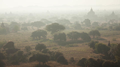 Old Bagan Temples Morning 4k Time Lapse Footage