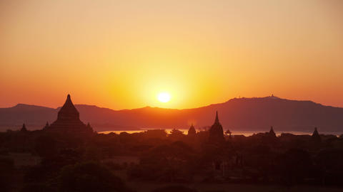 Old Bagan Sunset Time Lapse Animation