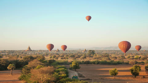Old Bagan Temples Sunrise Baloons Time Lapse Footage