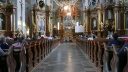 Church service in the Catholic church in Warsaw, Poland Footage