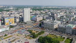 Warsaw, Poland. Aerial view. Zoom out shot Footage