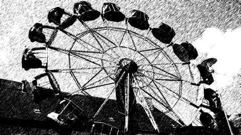 Carousel amusement carnival, retro grunge style pen draw filter Footage