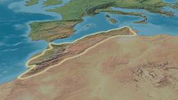 Revolution around Atlas mountain range - glowed. Natural Earth Animation