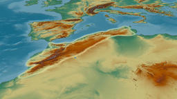 Revolution around Atlas mountain range - glowed. Relief map Animation